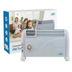 Convector electric de podea PNI Turbo Heat 2000W, 3 trepte de putere, ventilatie, timer, termostat reglabil, Alb