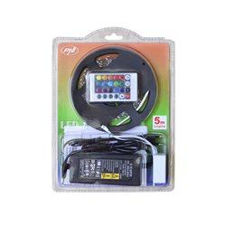 Banda LED PNI D-Light 60RGB flexibila de interior 60 leduri/m 12V 5m cu telecomanda si transformator incluse