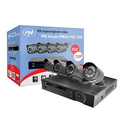 Kit supraveghere video PNI House IPMAX POE ONE 720P - NVR IP ONVIF si 4 camere HD cu IP 1.0 Mpx Power over Ethernet