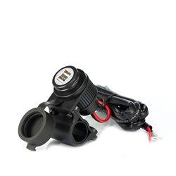 Alimentator 12V-5V Midland MP‐H 2USB cu 2 prize USB cu prindere pe ghidon pentru motociclete cod C1195